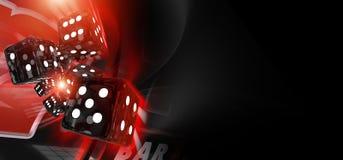 Röda skitar tärnar kasinobanret Fotografering för Bildbyråer