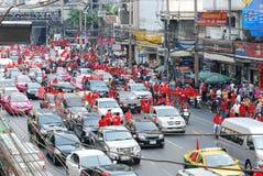 röda skjortor thailand för ratchaprasong Arkivbild