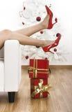 röda skor Arkivbild