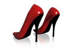 Röda skor för kvinna Royaltyfria Bilder