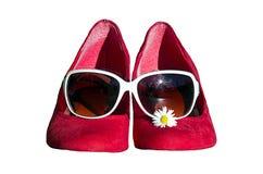 Röda skor med exponeringsglas och tusenskönor Royaltyfria Bilder