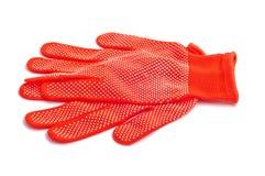 Röda skyddande handskar Royaltyfria Bilder