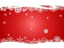 Röda snöflingor buktar för jul planlägger bakgrund royaltyfria bilder