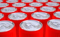 Röda sodavattencans Fotografering för Bildbyråer