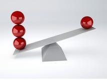 röda spheres framförd begreppsbild för jämvikt 3d Royaltyfria Foton