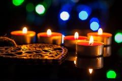 Röda stearinljus ljus med steg Royaltyfria Bilder