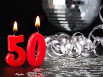 Röda stearinljus som visar Nr 50 Royaltyfria Foton