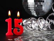 Röda stearinljus som visar Nr 15 Royaltyfria Foton