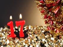 Röda stearinljus som visar Nr 17 Royaltyfria Bilder