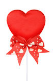 röda stickvalentiner för hjärta Arkivfoton