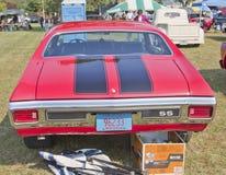 1970 röda svarta Chevy Chevelle SS bakre sikt Arkivbild