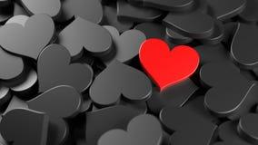röda svarta hjärtor Royaltyfri Bild