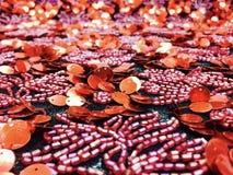 Röda sydde liljor Arkivbilder
