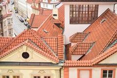 Röda tak i Prague, Tjeckien, Europa Fotografering för Bildbyråer