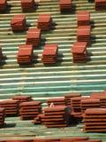 röda taktegelplattor Fotografering för Bildbyråer