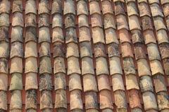 Röda tegelplattor på taket royaltyfri bild