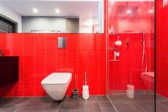 Röda tegelplattor på väggen royaltyfri bild