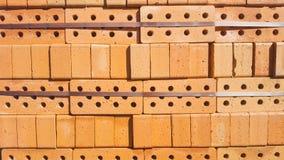 Röda tegelstenar för byggande textur fotografering för bildbyråer
