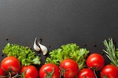 Röda tomater med grön sallad på svart Arkivfoton