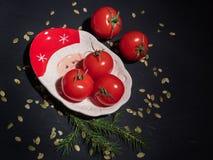 Röda tomater med sidor på en dekorativ julplatta Pumpafrö sprids arkivbilder