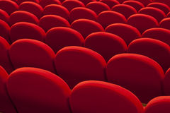 Röda tomma platser för bio eller för teater Royaltyfri Bild