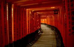 Röda Torii portar i Fushimi Inari Taisha förvarar i Kyoto Royaltyfri Foto
