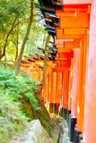 Röda toriiportar på Fushimi Inari Taisha Önskar skriftligt i japan på stolparna fotografering för bildbyråer