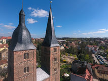 Röda torn för Rote Spitzen Altenburg medeltida stad Arkivbilder