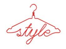 Röda trådklädhängare med meddelandet - STIL Royaltyfria Foton