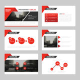 Röda triangelpresentationsmallar, uppsättning för design för lägenhet för Infographic beståndsdelmall för broschyr för årsrapport Arkivbilder