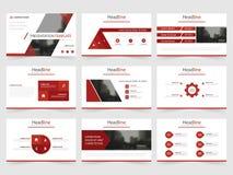 Röda triangelpresentationsmallar, uppsättning för design för lägenhet för Infographic beståndsdelmall för broschyr för årsrapport Royaltyfri Bild