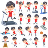 Röda TshirtGlasse men_Sports & övning vektor illustrationer