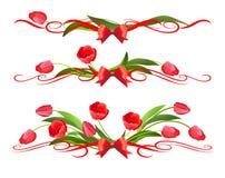 Röda tulpan och en karaktärsteckning med en pilbåge Fotografering för Bildbyråer