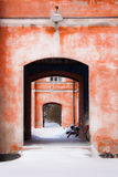 Röda väggar Arkivbilder