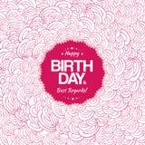 Röda vågor för kortdesign för lycklig födelsedag Royaltyfria Bilder