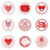 Röda valentindagsymboler också vektor för coreldrawillustration Royaltyfri Bild