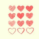Röda Valentine Symbols Isolated på vit bakgrund Royaltyfri Fotografi
