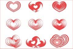 Röda Valentine Symbols Isolated på vit bakgrund Royaltyfri Bild
