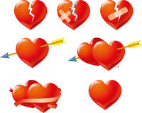 Röda Valentine Symbols Isolated på vit bakgrund Arkivbild