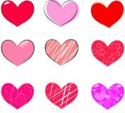 Röda Valentine Symbols Isolated på vit bakgrund Royaltyfria Foton