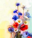 Röda vallmoblommor för olje- målning, blå blåklint och vit tusensköna
