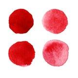 Röda vattenfärgmålarfärgcirklar vektor illustrationer