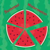 Röda vattenmelonskivor Arkivbilder
