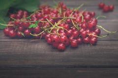 Röda vinbär överhopar closeupen på lantlig wood bakgrund Fotografering för Bildbyråer