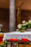 Röda votive tealights Royaltyfri Bild