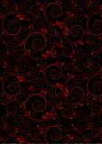 Röda vridna linjer med kurvor tappar på en svart bakgrund Arkivfoton