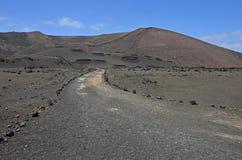 Röda vulkaniska kottar i den Timanfaya nationalparken Royaltyfria Foton