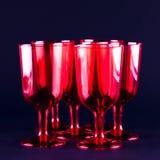 röda wineglasses Arkivfoton
