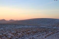 Rödaktig dragning i snön på soluppgång Royaltyfri Foto