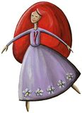 Rödhårig flickadans Arkivbild